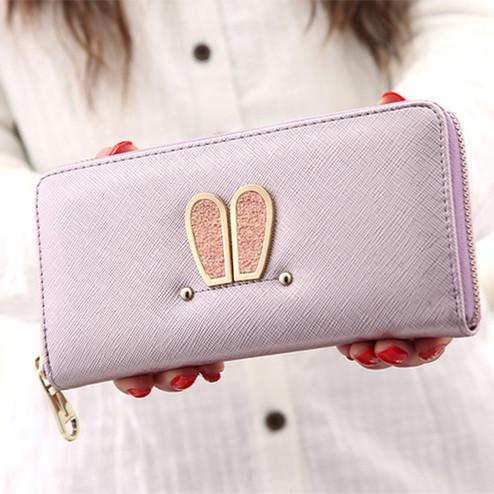 Fashion Women's Long Rabbit Ears Wallet Purse Clutch