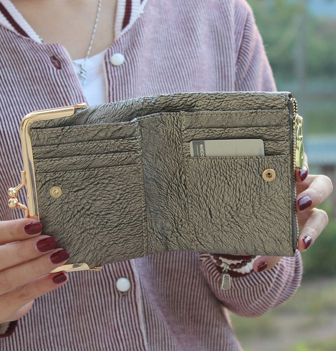 PU Leather Women's Short Wallet Coin Purse Card Holder - Zorket