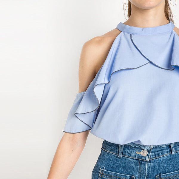 Cold Shoulder O-Neck Loose Blouse