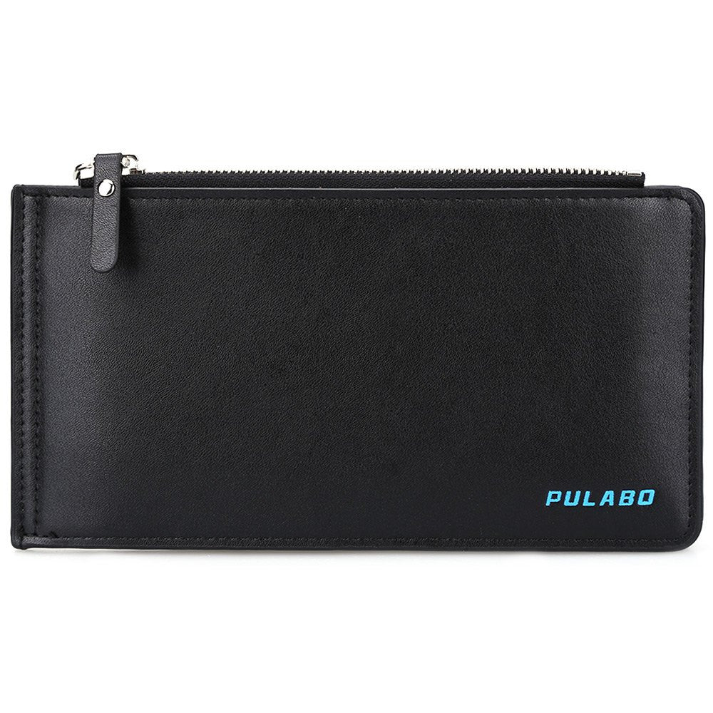 Solid Color Men's Long Purse With Credit ID Card Holder - Zorket