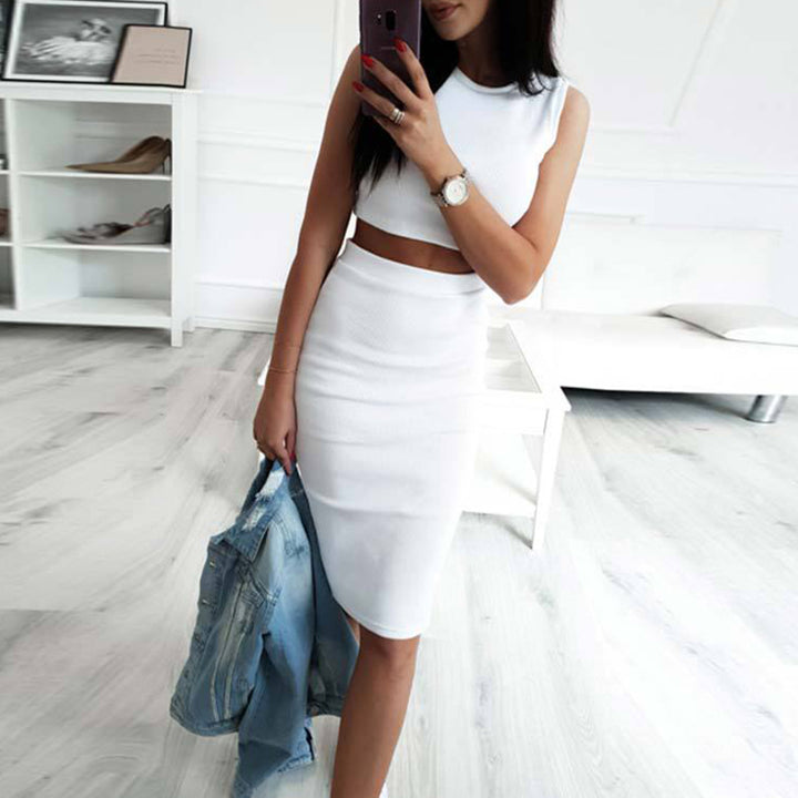 Women's Spring/Summer Knee-Length Two-Piece Dress