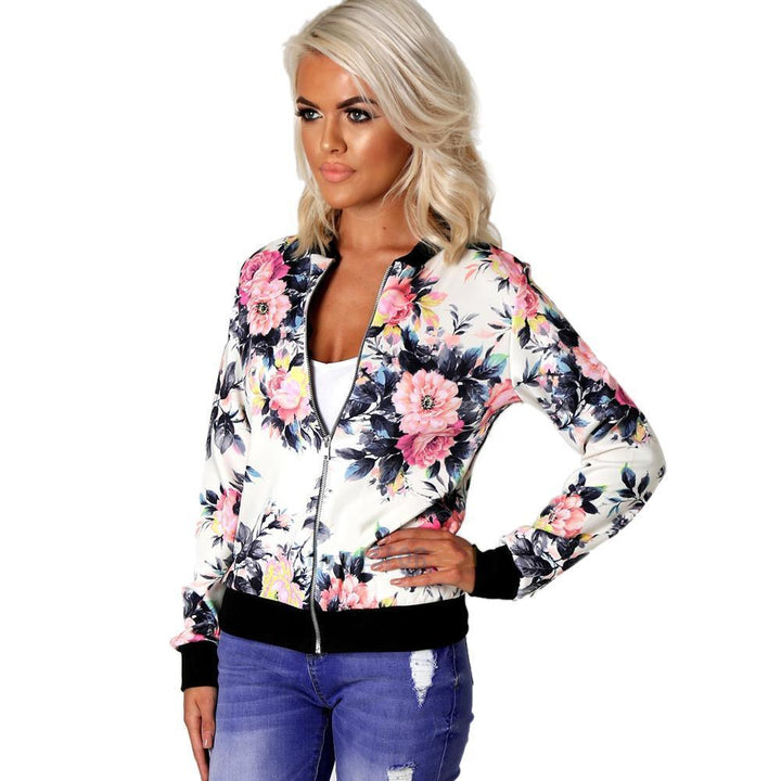 Women's Spring/Autumn Retro Floral Printed Slim Bomber
