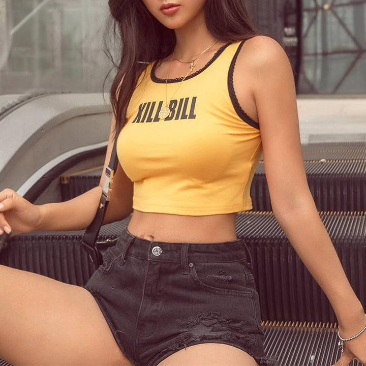 "Women's Summer Cropped Tank Top With ""Kill Bill"" Printing"