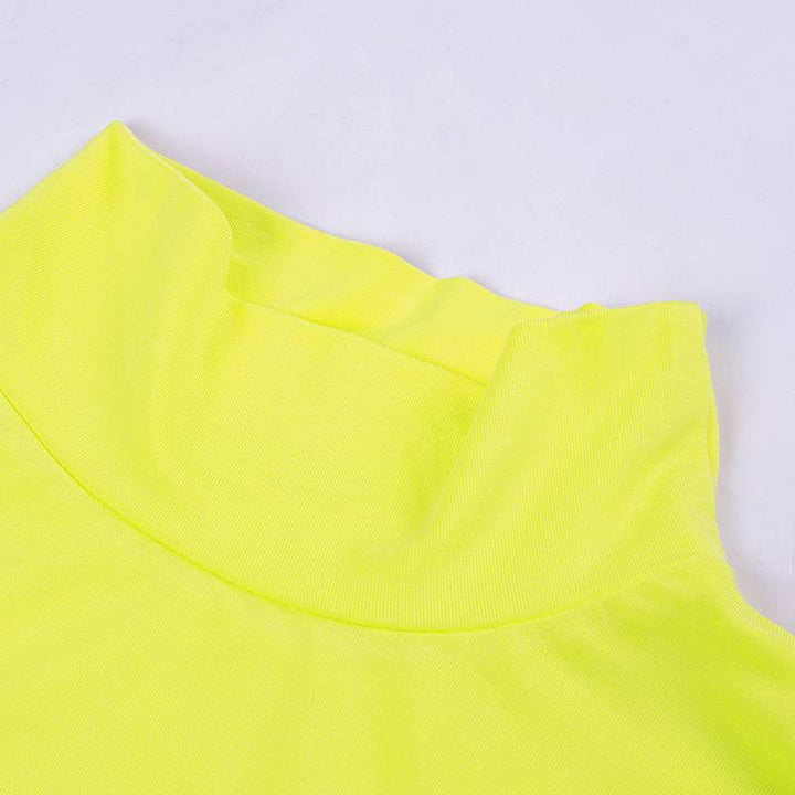 Women's Spring/Summer Short-Sleeved Hollow Out Cropped Top With Turtleneck