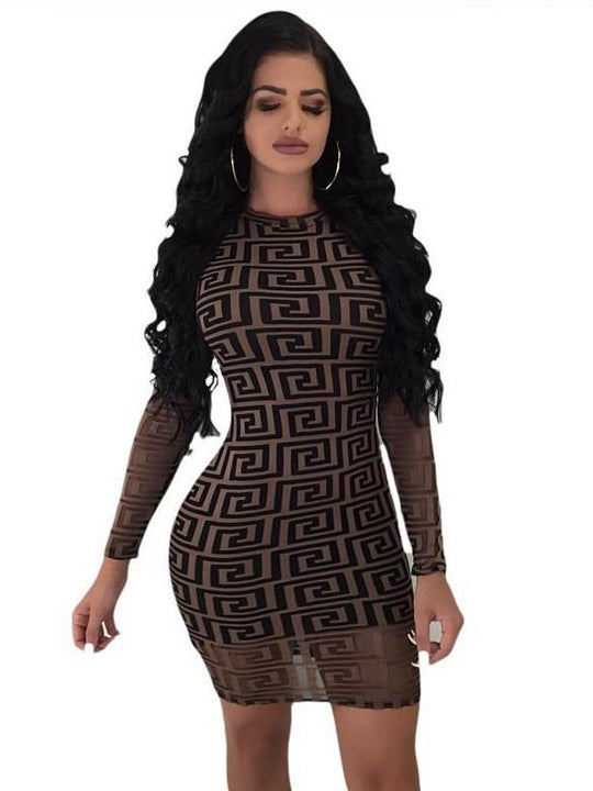 Women's Autumn Long-Sleeved Lace Bodycon Slim Mini Dress