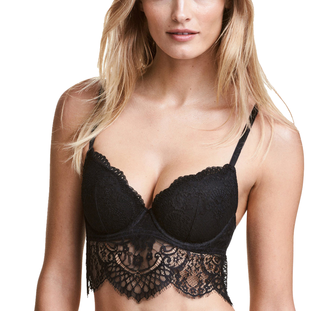 Black Lace-Trimmed Scalloped Push Up Bra  f49fb6c80