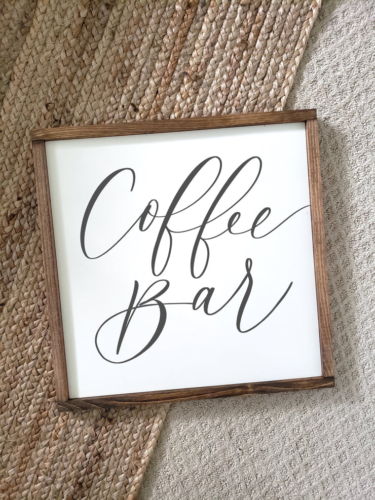 Farmhouse Coffee Bar Sign | Wood Framed Sign