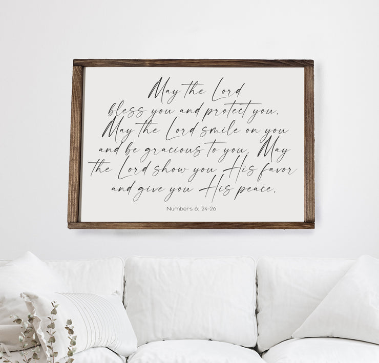 Scripture Sign | May the Lord bless you and keep you Wood Framed Sign | Numbers 6:24-26