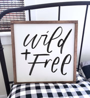 Wild & Free Wood Framed Sign | FREE U.S. Shipping