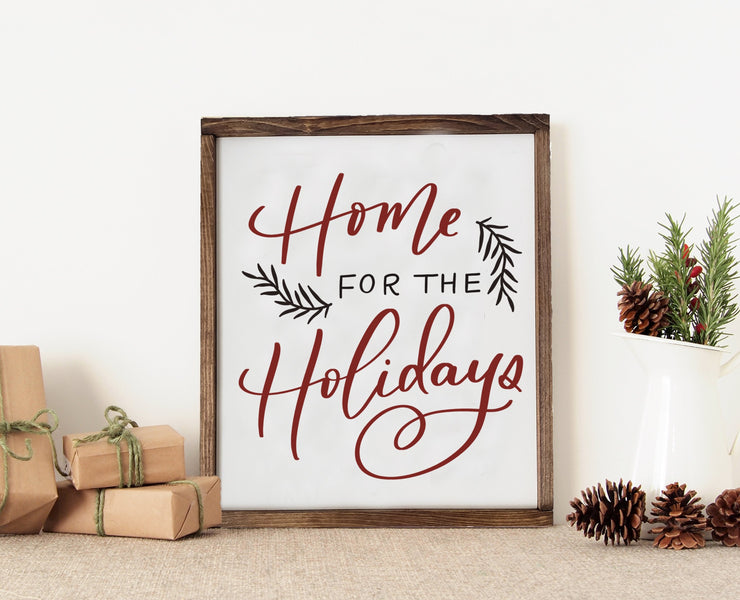 Wooden Home For the Holidays Christmas Sign