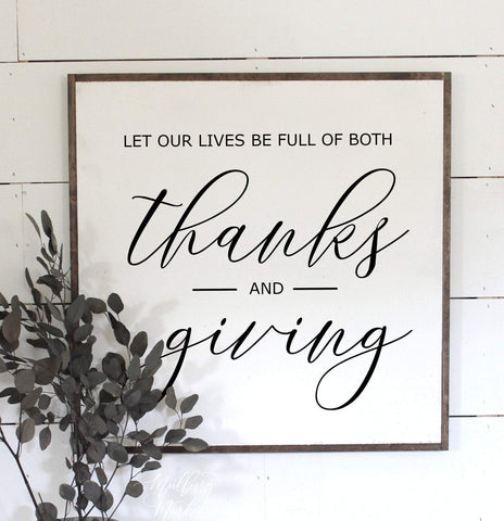 Give Thanks and Giving Framed Wood Sign