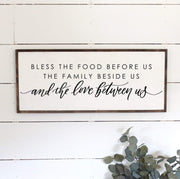 Bless The Food Before Us Wood Framed Sign