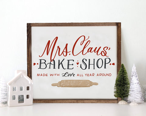 Wooden Mrs. Clause Bake Shop Christmas Sign