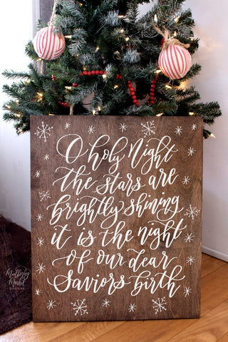 Wooden Oh Holy Night Christmas Sign