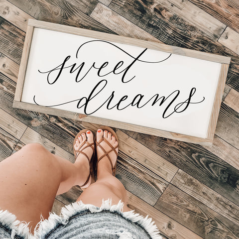 Sweet Dreams Wood Framed Sign