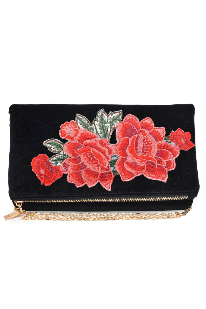 Velvet Embroidered Clutch