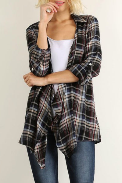 Plaid Waterfall Cardigan