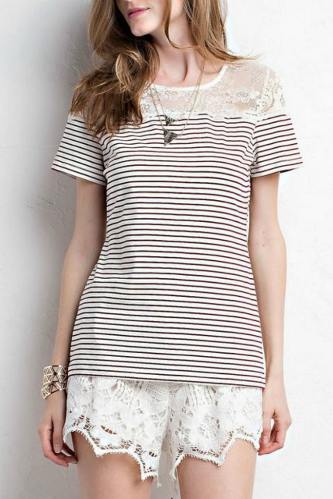 Striped Top with Lace