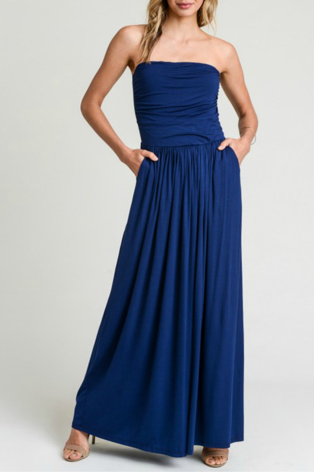 Ruched Strapless Maxi