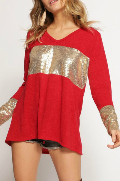 Sequin Cuffed Long-Sleeve (more colors)