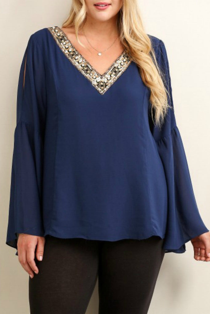 Jeweled V-neck Top