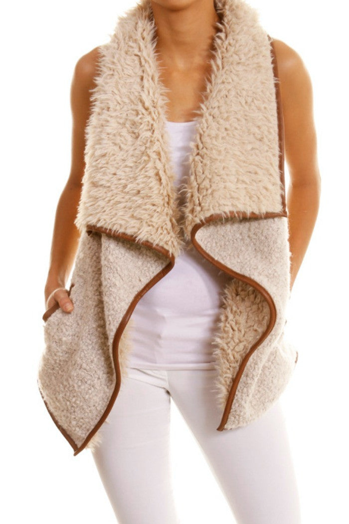 Vegan Leather Trimmed Fur Vest