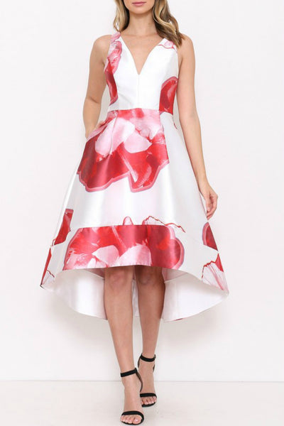 Retro Floral Hi-Lo Dress