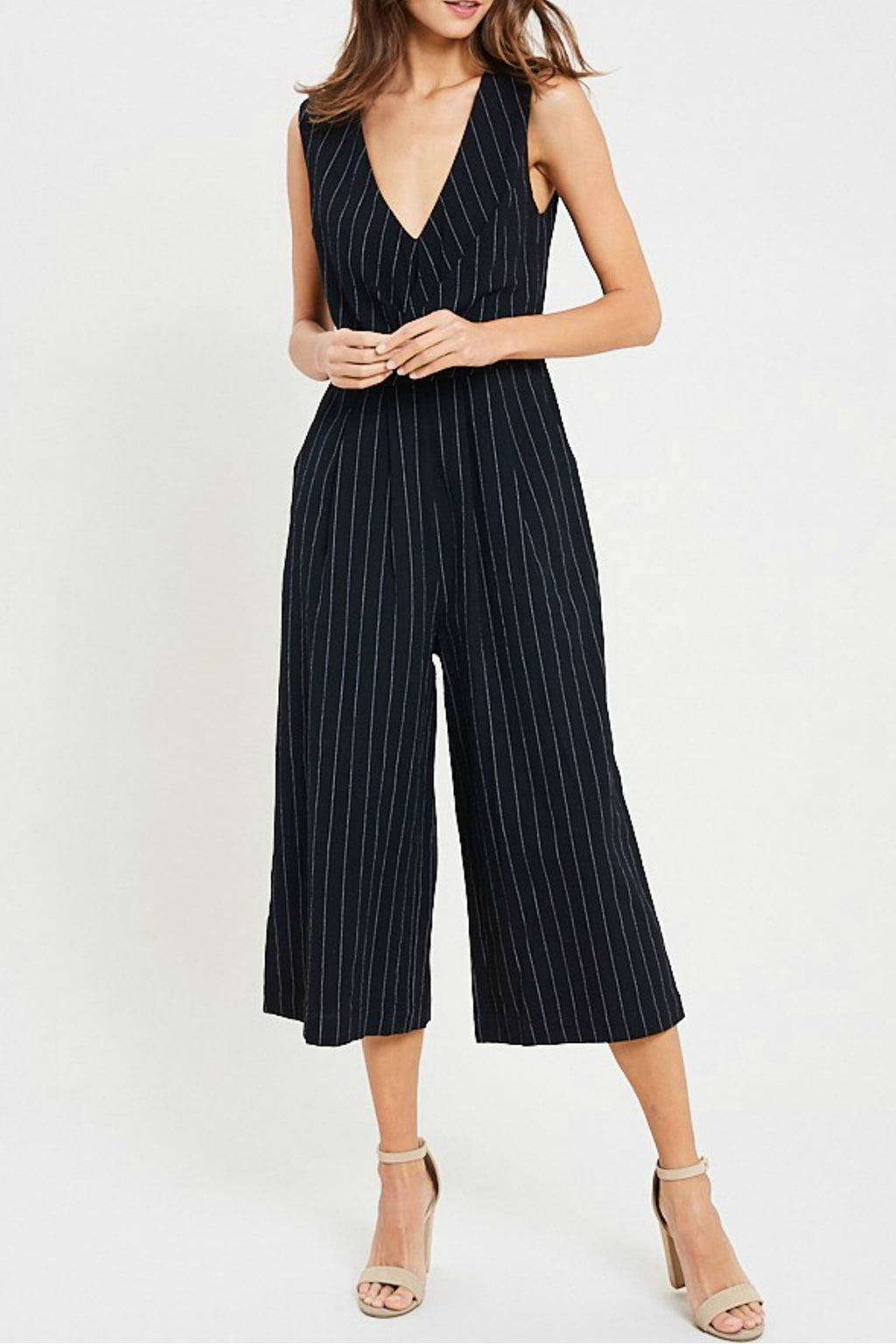 Cropped Pinstripe Jumpsuit