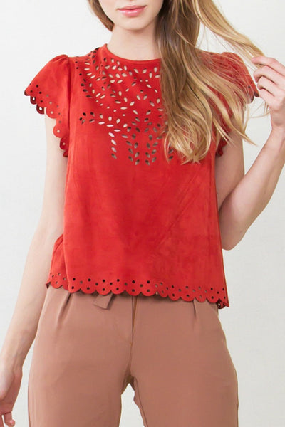 Perforated Vegan Suedette Top