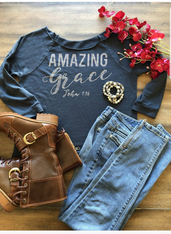 """Amazing Grace"" Beautiful Bling Raglan (Winter)"