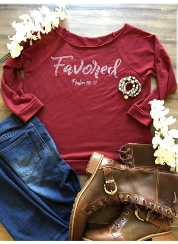 """Favored"" Beautiful Bling Raglan (Winter)"