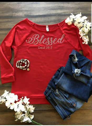 """Blessed""  Beautiful Bling Raglan (Winter)"
