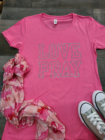 Pink LOVE PRAY Bling Tee -New