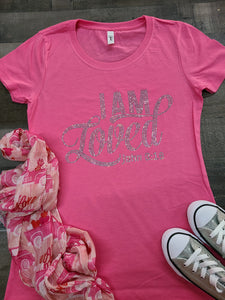 Pink I Am Loved Bling Tee -New