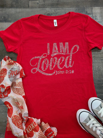 Red I Am Loved Bling Tee -New