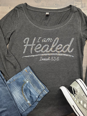 L/S I Am Healed Bling Tee -New