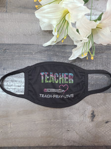 Modal Antibacterial Face Mask~TEACHER  Bling (New)