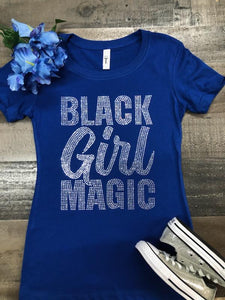 Blue Black Girl Magic Bling Tee (Clear Stone)