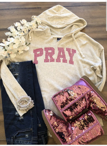 Oatmeal w/Pink Bling Pray Hoodie-L/S