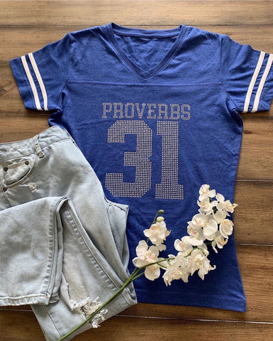 Proverbs 31 Jersey Bling Tee (Blue)