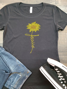 Black Jesus & Sunflower Bling Tee