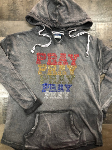 Graphite PRAY Bling Hoodie-L/S- New
