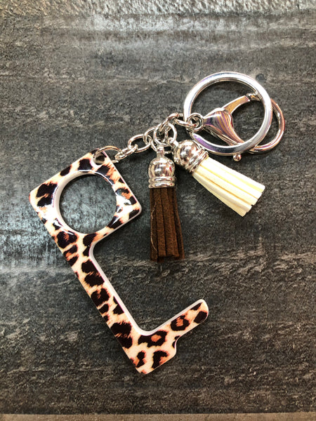 Antimicrobial No Touch Key Chain (Brown/Cream)