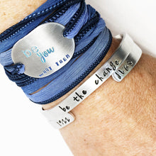 Load image into Gallery viewer, Wanderlust Hand Stamped Boho Silk Wrap Bracelet