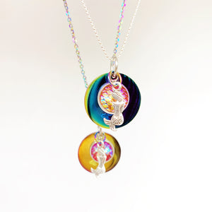 Rainbow Mermaid Necklace on Stainless Steel or Sterling Silver Chain