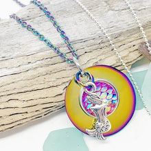 Load image into Gallery viewer, Rainbow Mermaid Necklace on Stainless Steel or Sterling Silver Chain