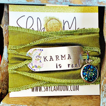Load image into Gallery viewer, Karma Is Real, Boho Silk Wrap Bracelet with Blue Druzy Charm