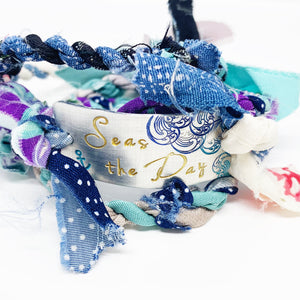 Seas The Day Hand Stamped Kimono Wrap Bracelet <b>(Ready To Ship)</b>