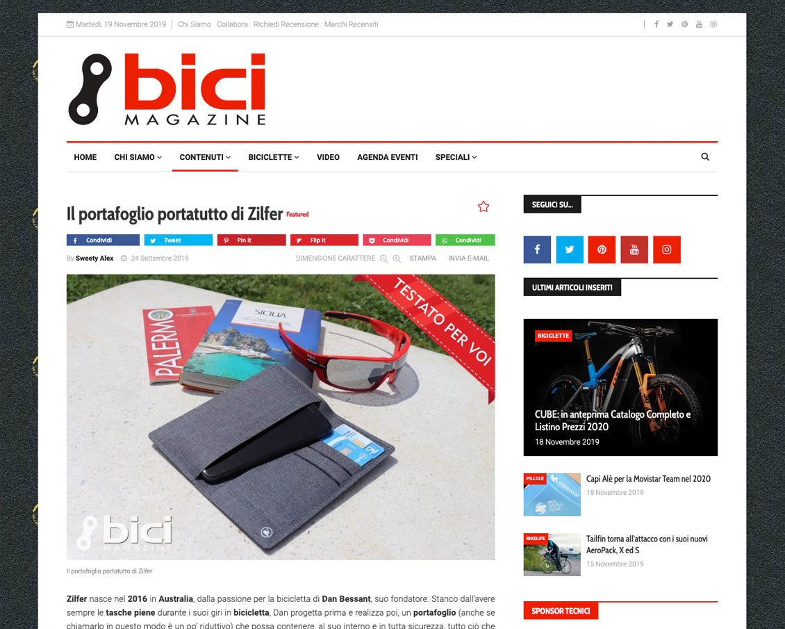 bici cycling wallet review italia
