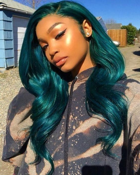 DEEP SEA BLUES  OMBRE BODY WAVE  BRAZILIAN HUMAN HAIR LACE FRONT WIG : PRE-PLUCKED TRANSPARENT SWISS HD LACE
